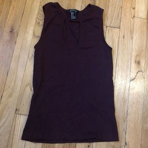 Forever 21 Ribbed Knit Tank with Keyhole Front
